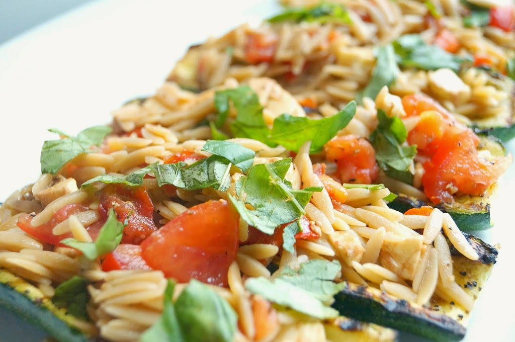 Stuffed Zucchini with Orzo Salad