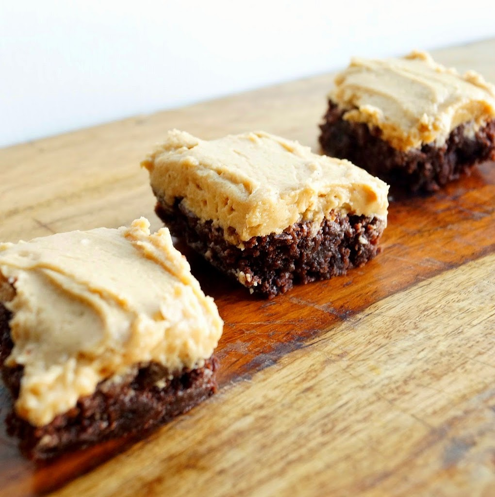 Chocolate Brownies with Peanut Butter Fudge Frosting