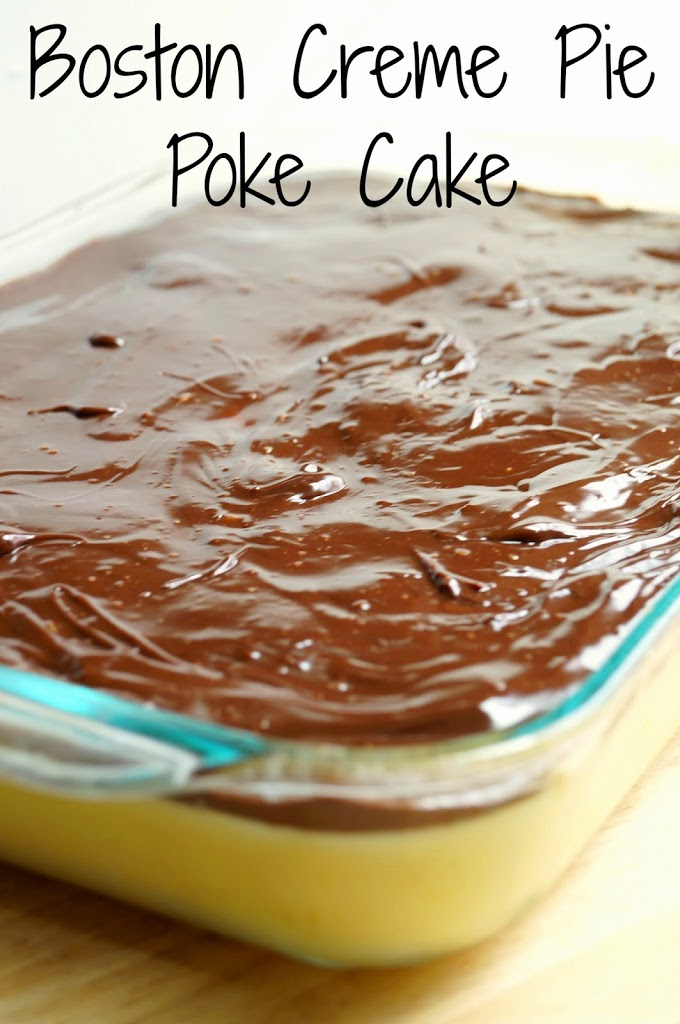 Boston Creme Pie Poke Cake
