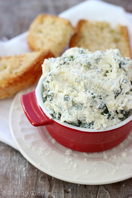 Spinach Artichoke Parmesan Dip - Easy to make and great hot or cold! #dip