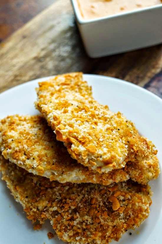 Whole Grain Cheddar Crusted Chicken Fingers