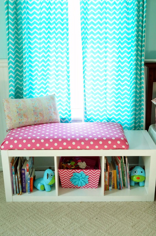 diy window seat bookcase with no sew bench cushion. Black Bedroom Furniture Sets. Home Design Ideas