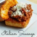 Crockpot Italian Sausage Sloppy Joes on Garlic Toast