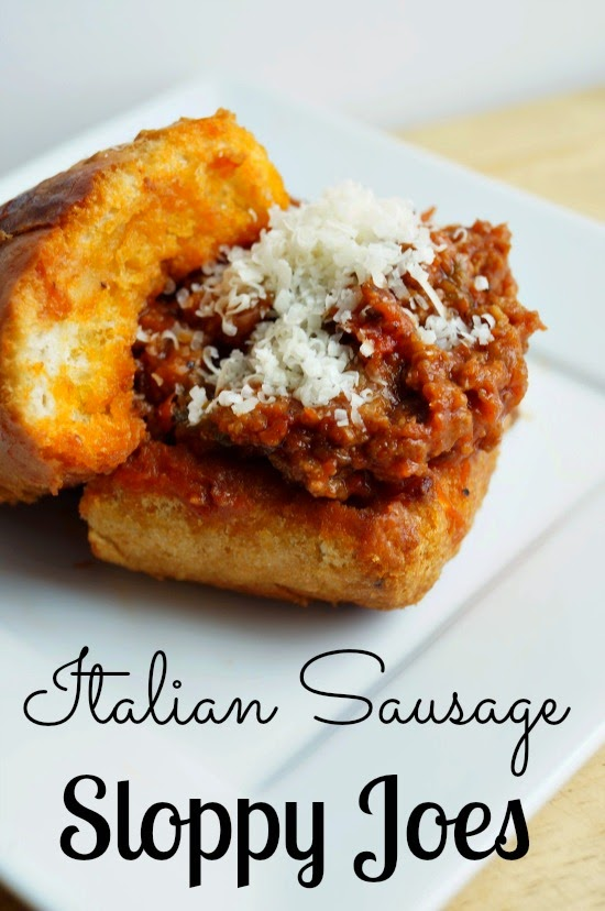 Crockpot Italian Sausage Sloppy Joes on Garlic Toast with Onions and ...