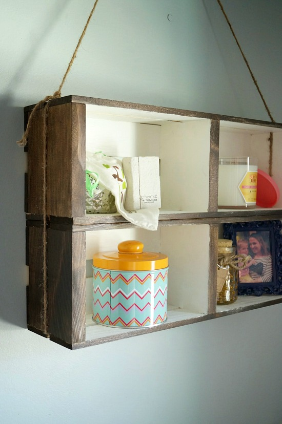 DIY Crate Wall Shelf an easy no build shelf that only requires craft store materials!