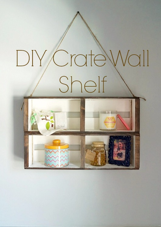 DIY Hanging Crate Wall Shelf an easy no build shelf that only requires craft store materials!