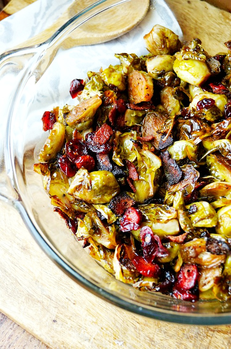 Maple Balsamic Brussel Sprouts with Bacon and Cranberries
