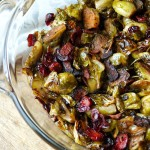 Maple Balsamic Roasted Brussel Sprouts with Bacon and Cranberries
