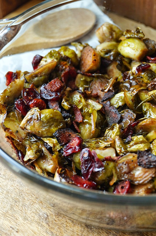Maple Balsamic Roasted Brussel Sprouts with Bacon and Cranberries ...