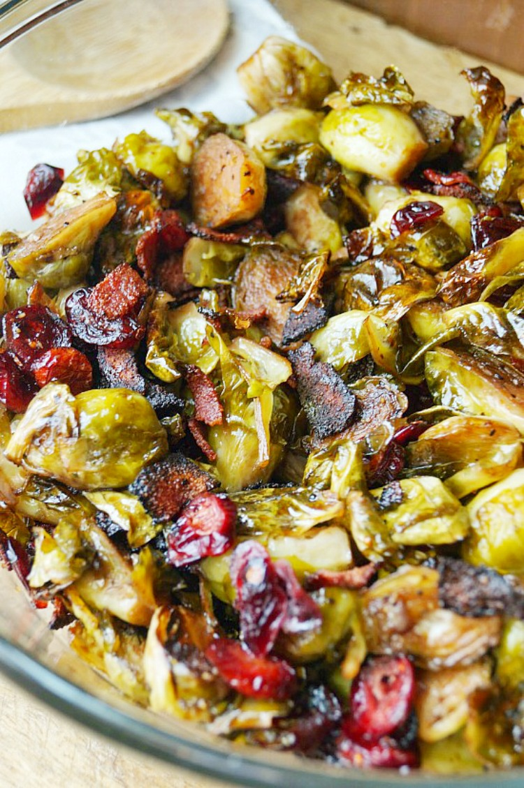 Roasted Brussel Sprouts with Cranberries and Bacon