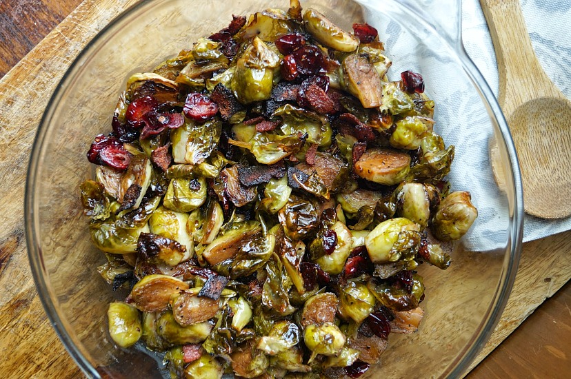 Maple Balsamic Roasted Brussel Sprouts with Bacon and Cranberries is ...