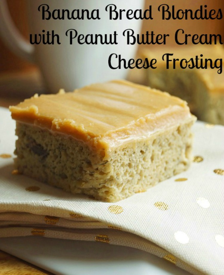 Banana Bread Blondies with Peanut Butter Cream Cheese Frosting