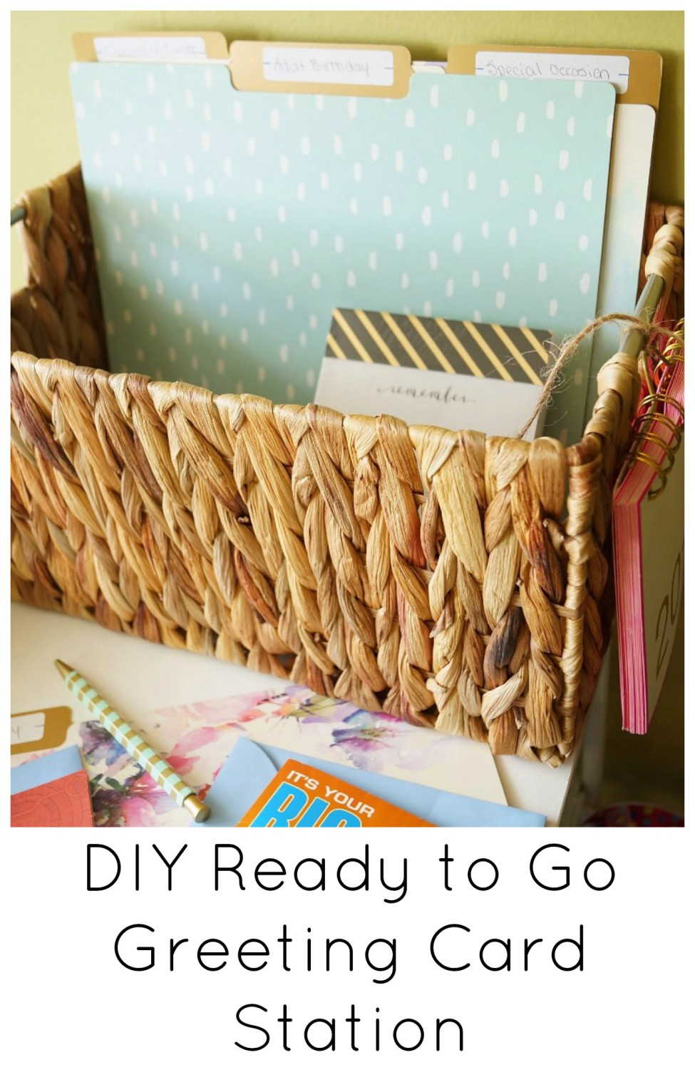 DIY Ready to Go Greeting Card Station. Never be without a card for the next birthday party or event you need to attend! This inexpensive and easy station is perfect to keep you organized.#ad #sharesmiles