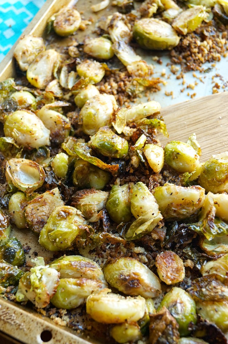 Panko and Parmesan Roasted Brussel Sprouts