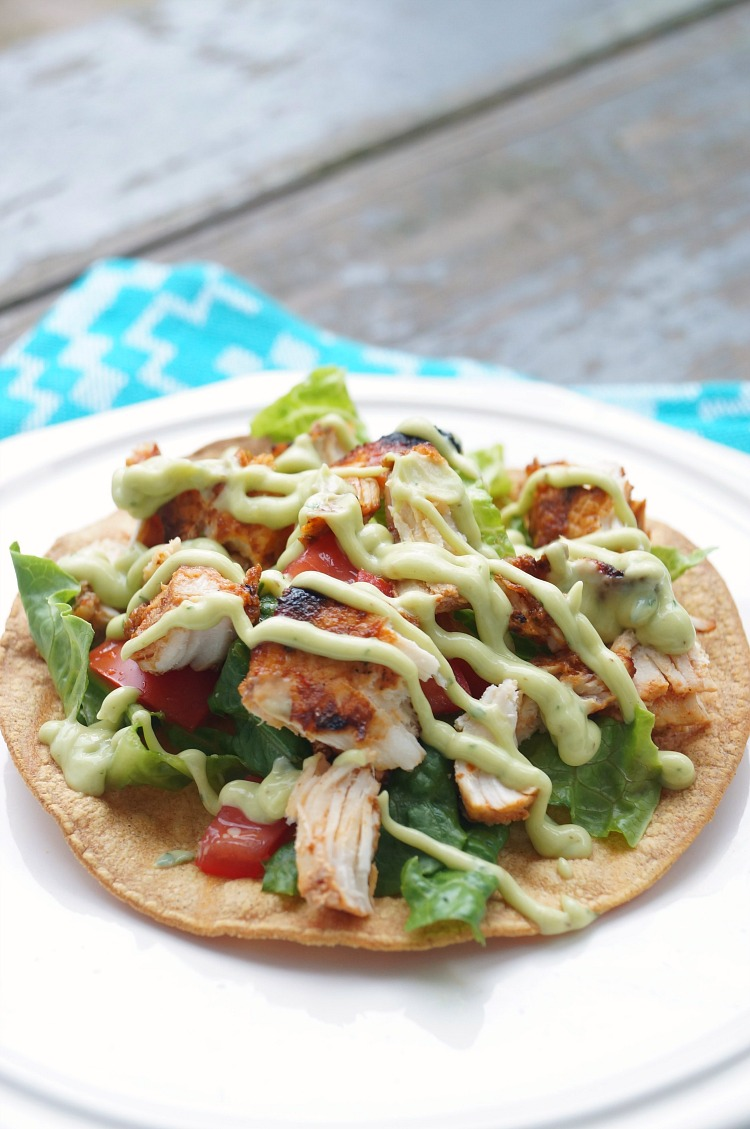 Grilled Chipotle Chicken Tostadas topped with cool Avocado Cream! A great summer grilled dinner! #ad #kingofflavor