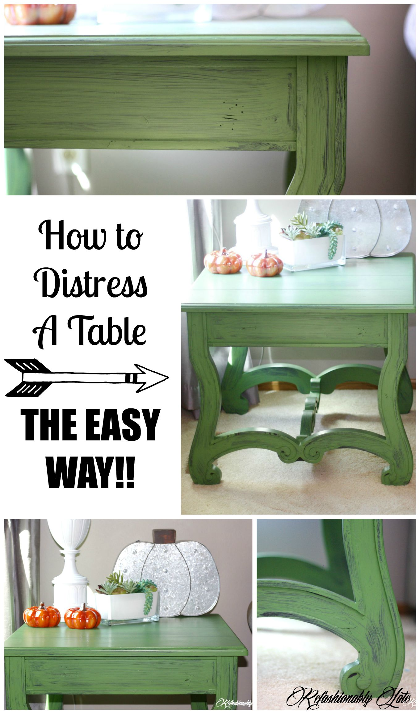How to Distress A Table, The Easy Way! No Sanding Required!