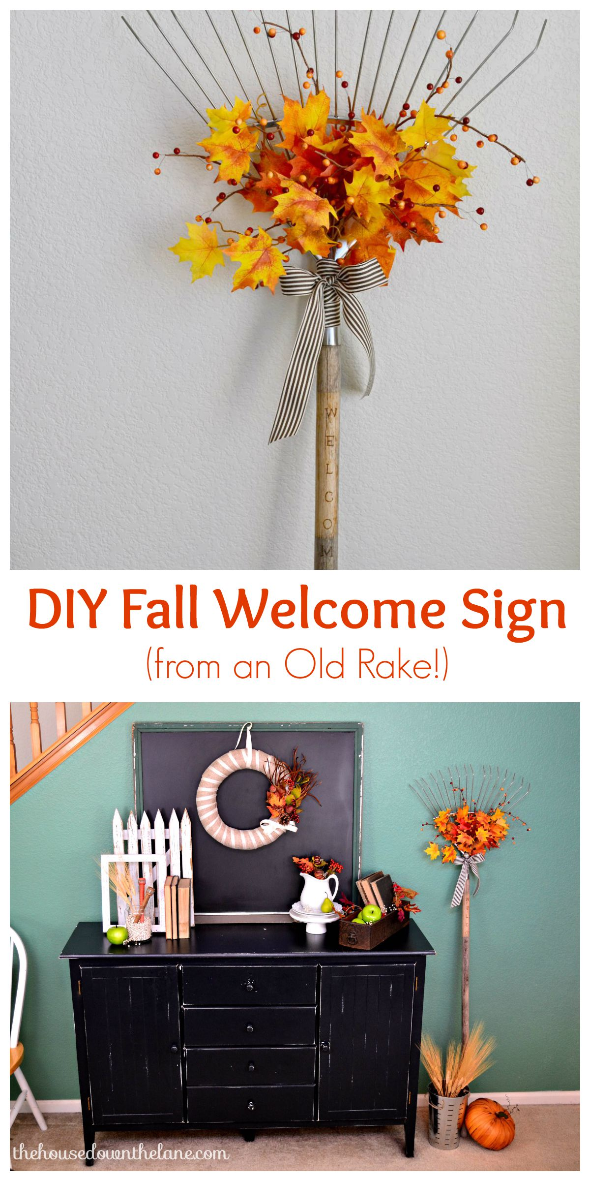 An easy fall DIY! A welcome sign from an old rake!