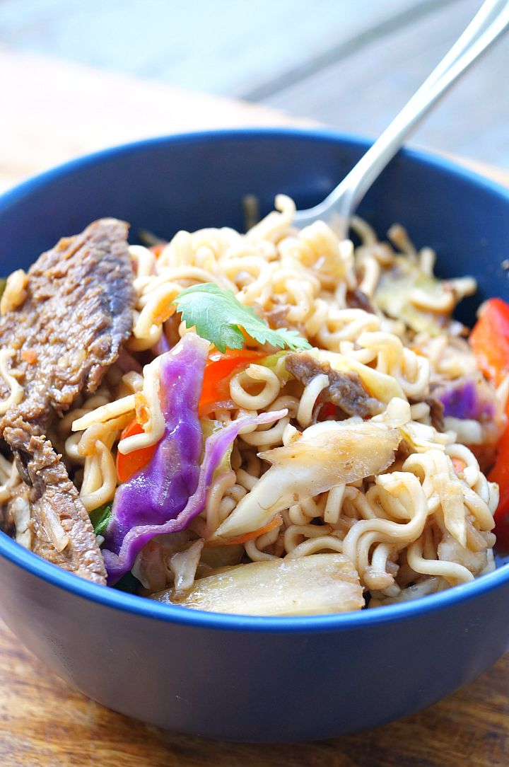 Slow Cooker Asian Beef and Ramen Broth Bowls