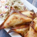 Baked Buffalo Chicken Rangoons with Creamy Ranch Slaw