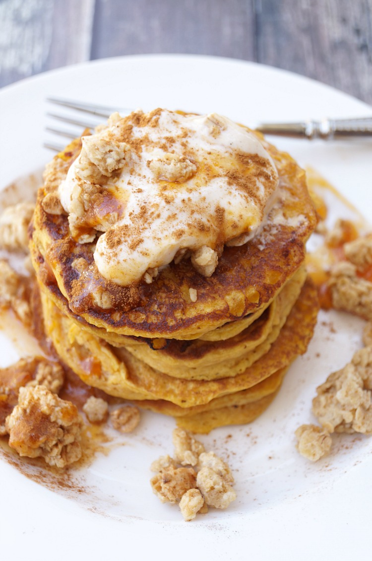 Pumpkin Pancakes with Gingersnap Granola and Pumpkin Spice Yogurt Topping