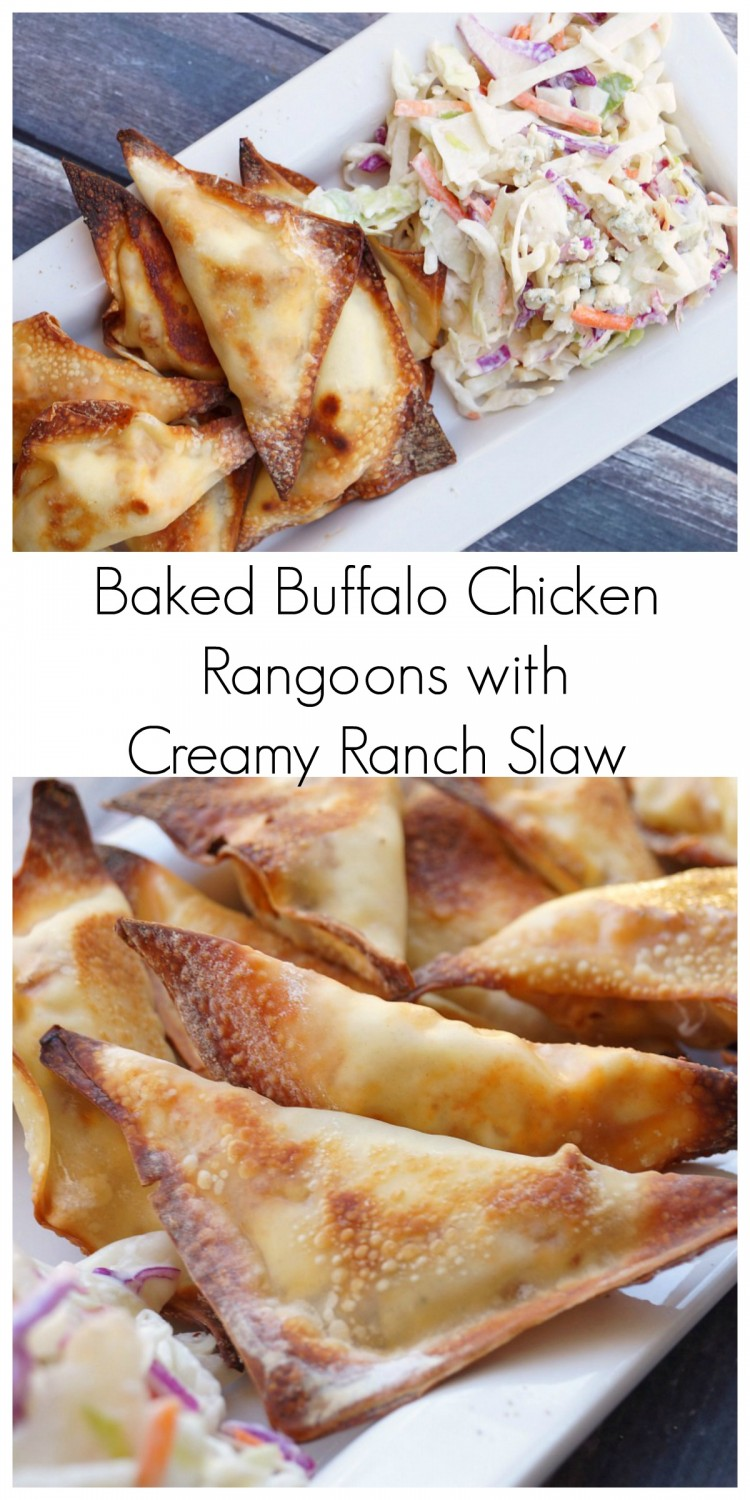 Baked Buffalo Chicken Rangoons with Creamy Ranch Slaw [ad] #backyoursnack