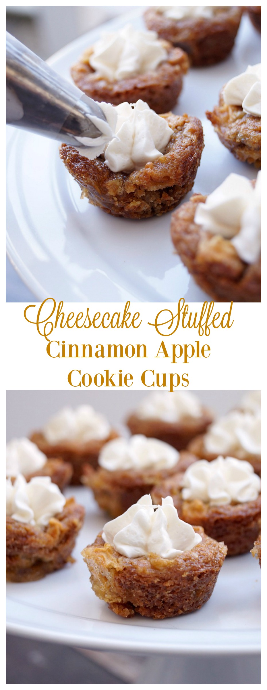 Cheesecake Stuffed Cinnamon Apple Cookie Cups [ad] #nestleholidaybaking @verybestbaking