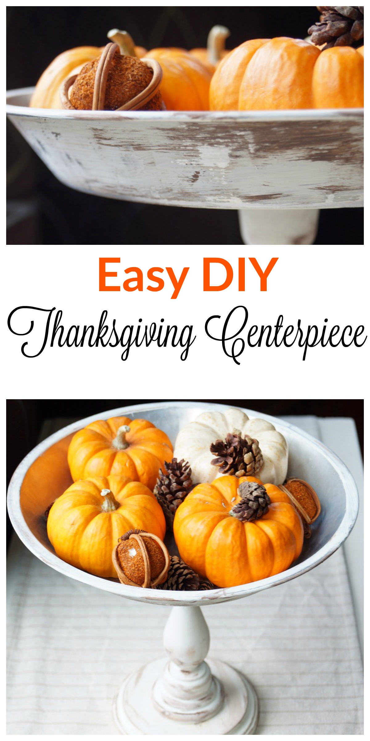 Easy DIY Thanksgiving Centerpiece made from an old pie pan and a candle stick!