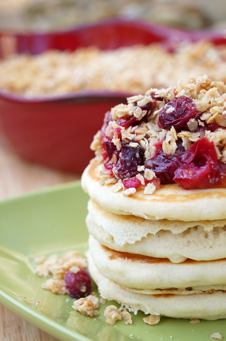 Cranberry Apple Crumble Topped Pancakes