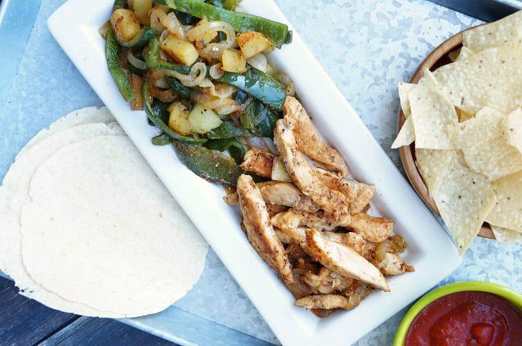 Poblano and Potato Chicken Fajitas