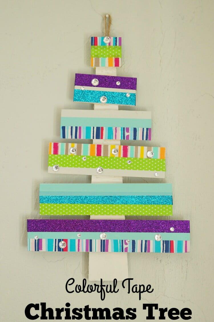 Colorful Washi Tape Christmas Tree #craftamazing [ad]