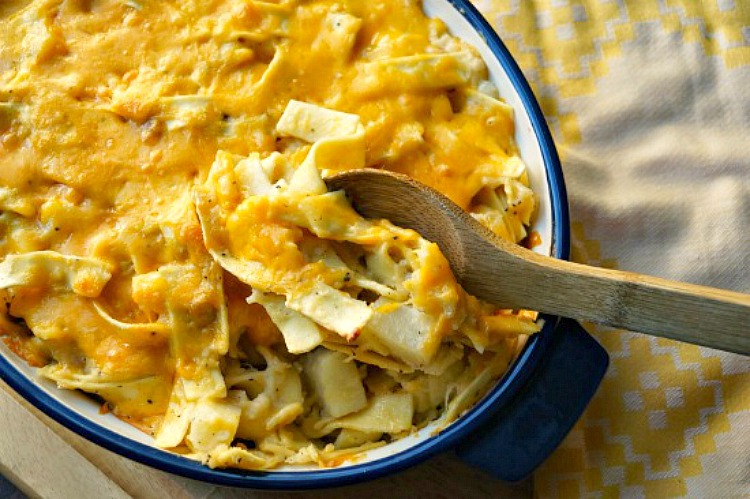 Pierogi Casserole: Layers of pasta, cheese, potatoes, and onions are cooked until bubbly! The perfect meatless meal!