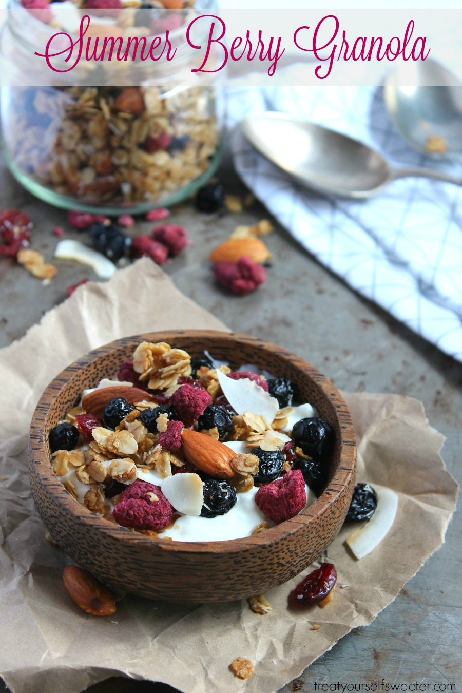 Toasted Summer Berry Granola; crispy, crunchy, sweet summer berry granola with oats and coconut. So delicious, you'll want to eat it by the handful!