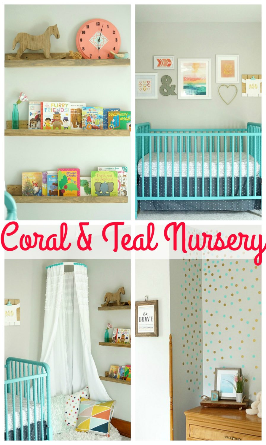 Bright and Colorful Coral and Teal Nursery with Polka Dot Wall, Gallery Wall, DIY Canopy, and Book Display