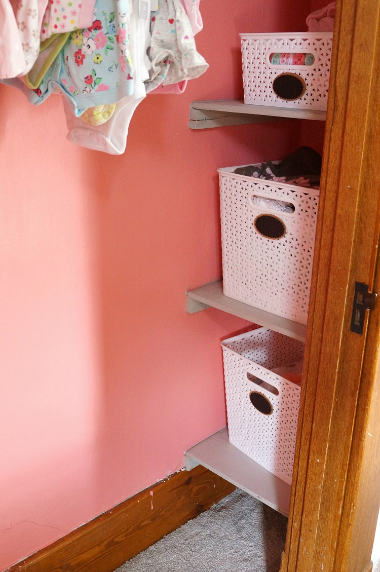 Sherwin Williams Dishy Coral and Built in Closet Shelves