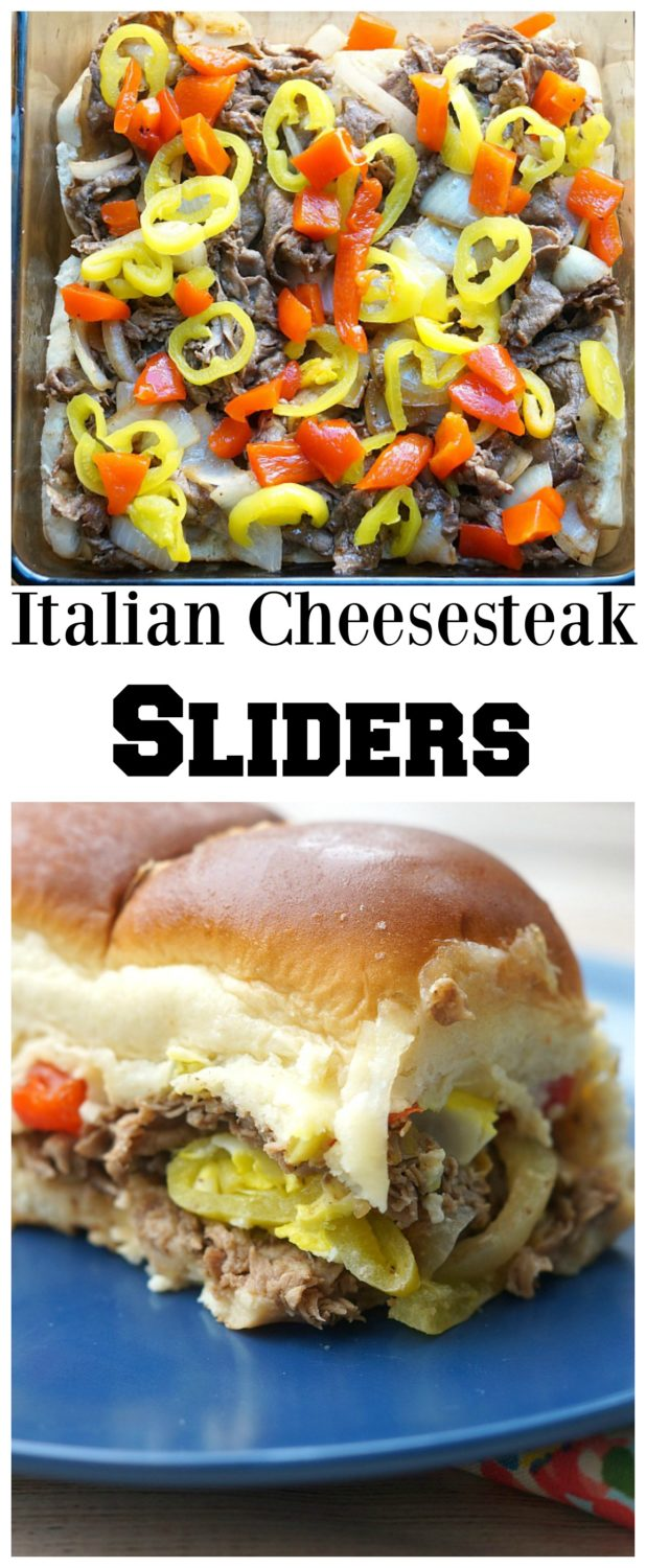 Italian Cheesesteak Sliders with tons of Italian peppers, onions, and two types of cheese!
