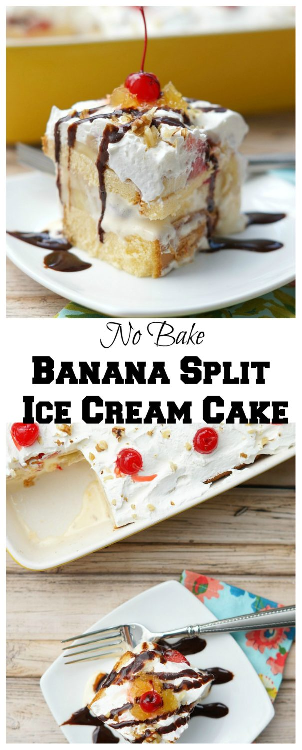 No bake banana split ice cream cake old house to new home no bake banana split ice cream cake ccuart Images