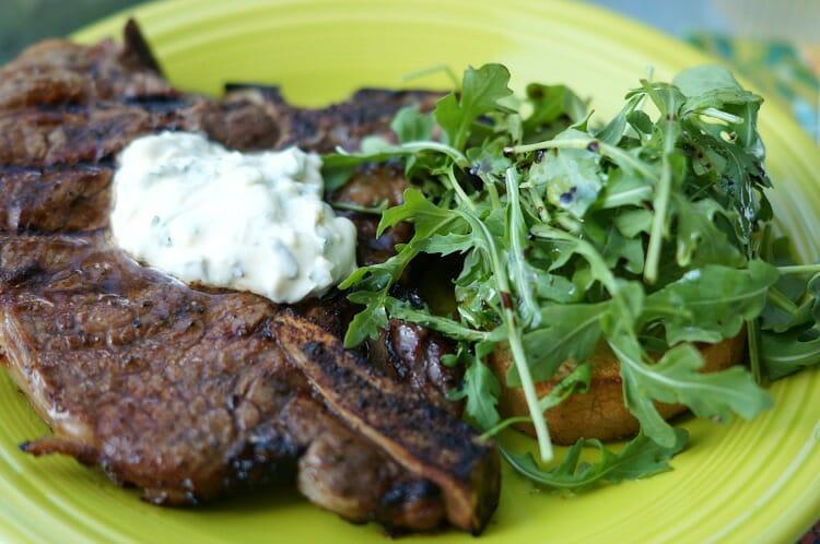 Marinated T-Bone Steaks with Garlic Herb Aioli