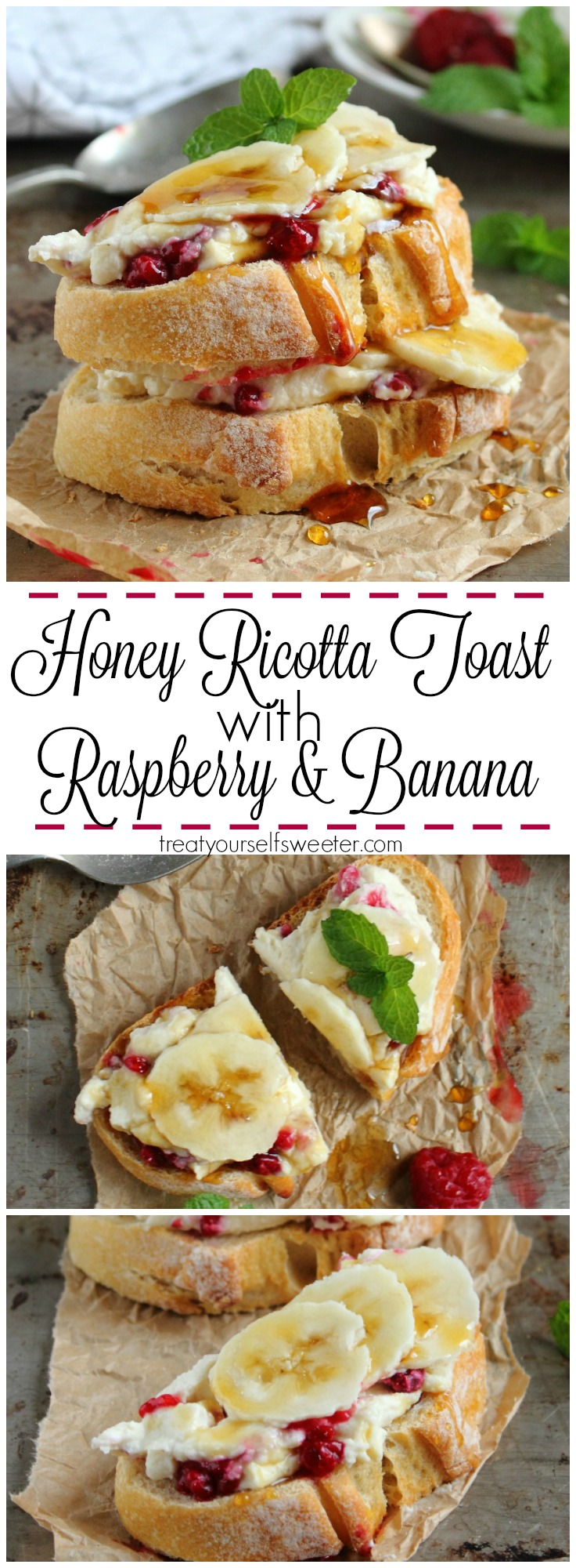 Honey Ricotta Toast with Raspberries and Banana; crunchy toast smothered with creamy, sweet honey ricotta, raspberries and banana. Quick, easy & perfect for brunch!