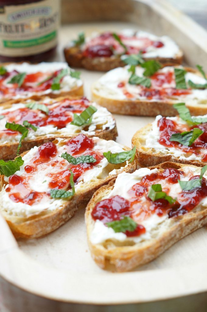 Grilled Strawberry and Jalapeno Cream Cheese Crostini