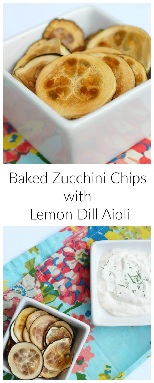 Baked Zucchini Chips with Lemon Dill Aioli