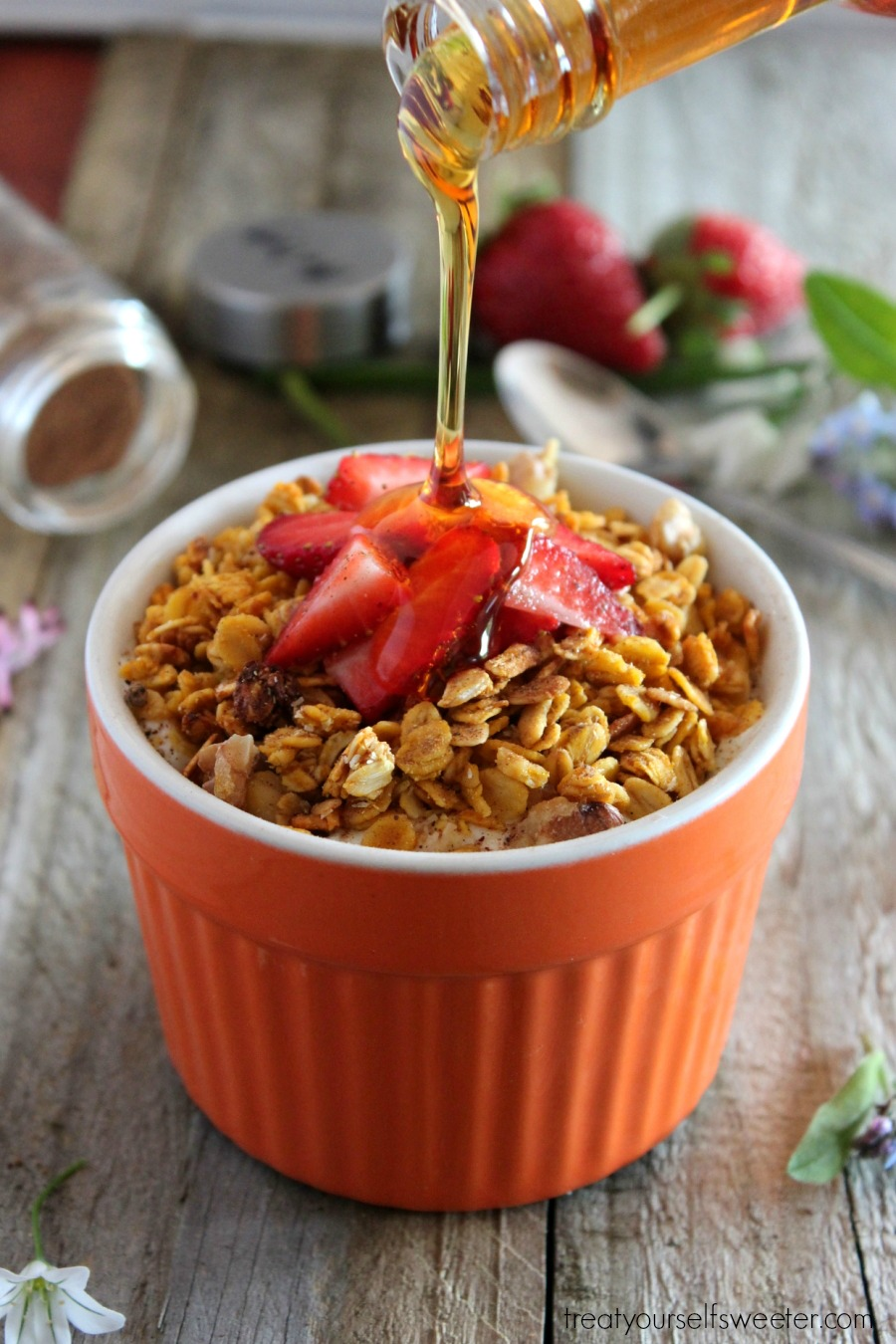 Pumpkin Spice Granola; crunchy granola with a hint of pumpkin, fall spices and sweetness of maple syrup. Perfect for brunch or a seasonal gift.