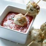 Chicken Parmesan Meatball Skewers