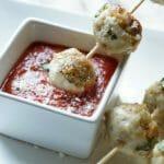 Chicken Parmesan Meatball Skewers