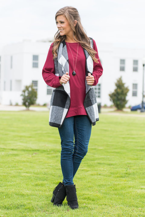 The Mint Julep Boutique's Slouchy Dolman Tunic in Wine