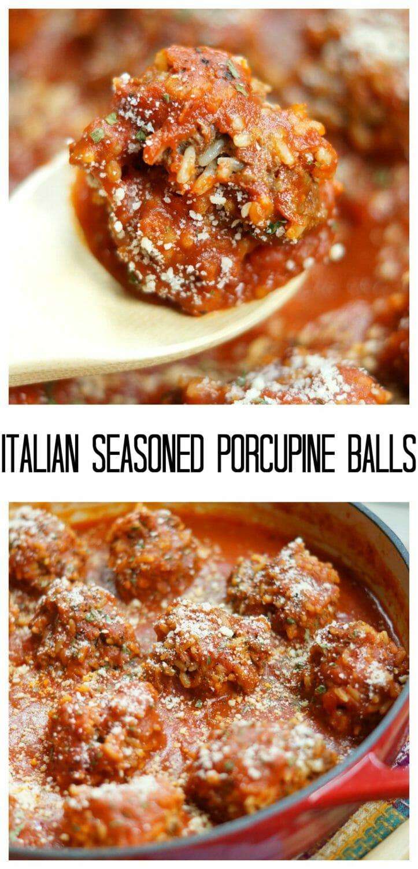 Italian Seasoned Porcupine Balls