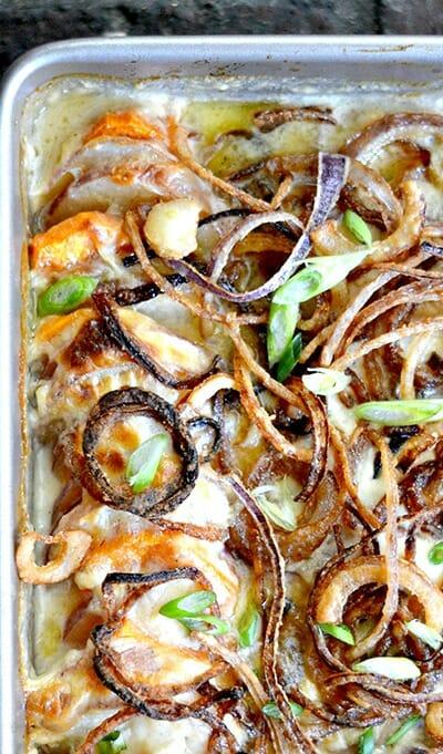 scalloped-root-veggies-ham-onions