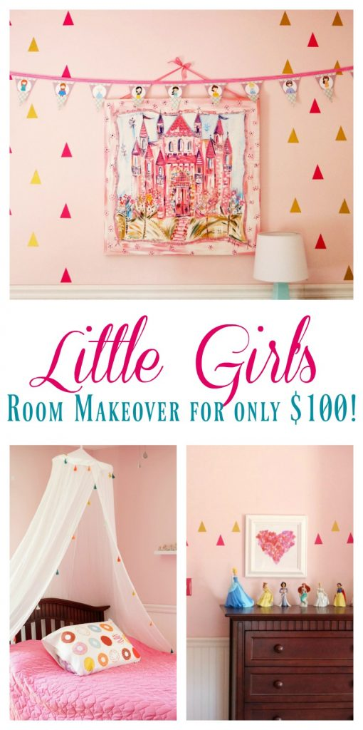 Little Girl's Room Makeover for Only $100! | $100 Room Challenge| Budget Room Makeover Reveal
