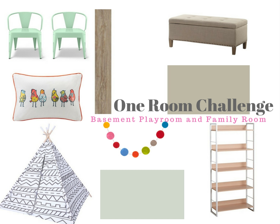 One Room Challenge: Week 3 Basement Family Room and Playroom Progress