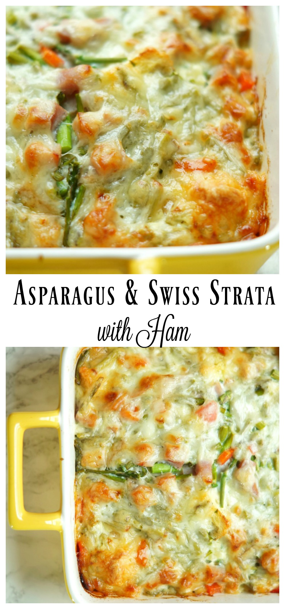 Asparagus and Swiss Strata with Ham is the perfect overnight breakfast casserole for Christmas morning!