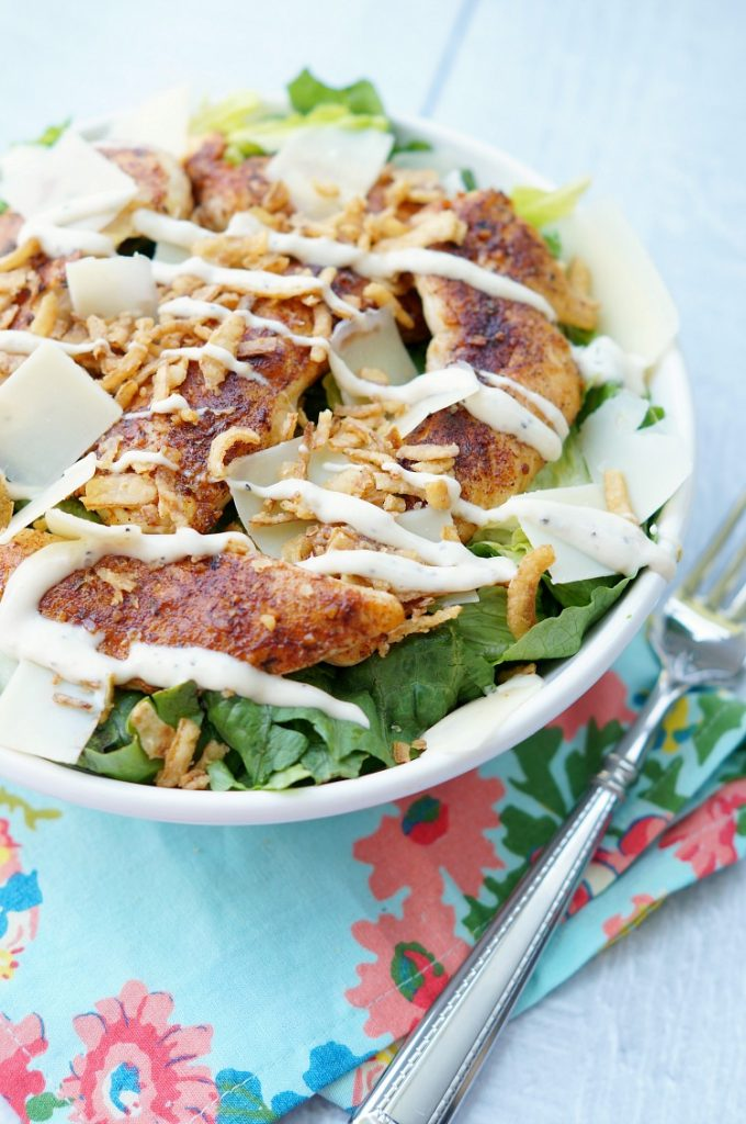 Blackened Chicken Caesar Salad with Crispy Onions
